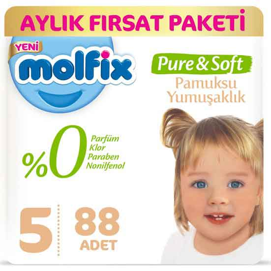 Molfix Pure & Soft 5 Beden Junior Bebek Bezi 1