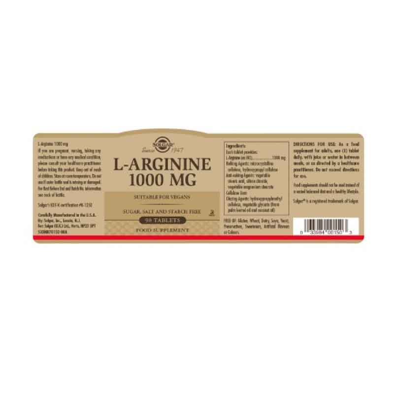 Solgar L-Arginine 1000 Mg 90 Tablet 2